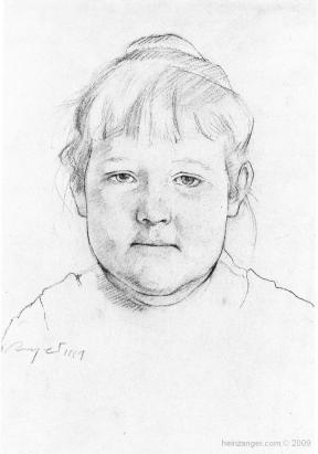 """Bäckerstochter"" (The Baker's Daughter),  Kreidezeichnung - crayon 1961"