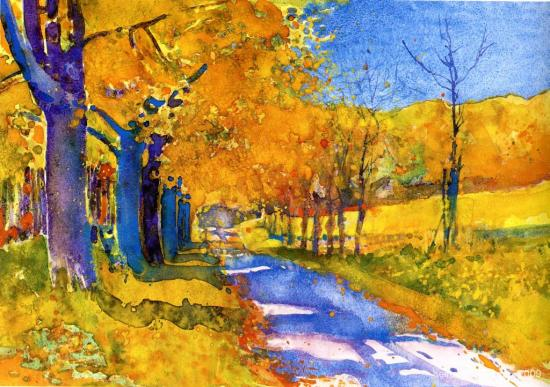 """Schöner Herbst"", watercolour, 1983. Used as artwork for colour litho"