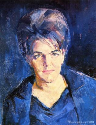 Portrait Kammersängerin Leonie Rysanek, oil on canvas, detail, 1962