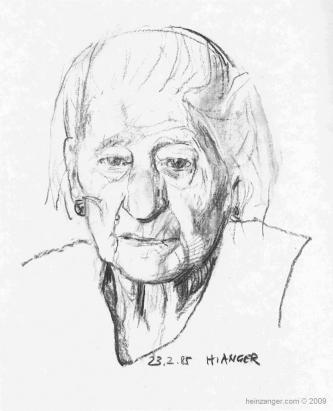 Großmutter III (Grandmother), Kohlezeichnung - charcoal on paper 1985