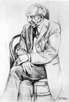 Portrait Richard Redweis-Ott, Kohlezeichnung - charcoal on paper  1990