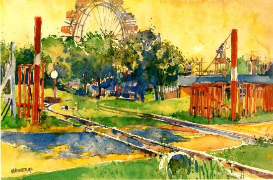 """Prater Liliputbahn"", watercolour 1987"