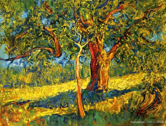 """Baum und Bäumchen"" (Tree and Sapling), oil on canvas 63 x 83 cm,1990"