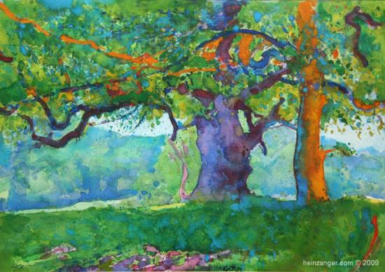 """Bäume in Lainzer Tiergarten"", watercolour, 1984"